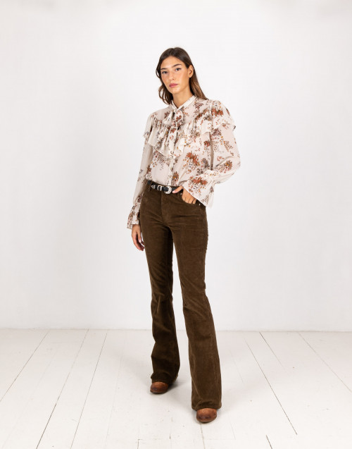 Mud coloured flared trousers