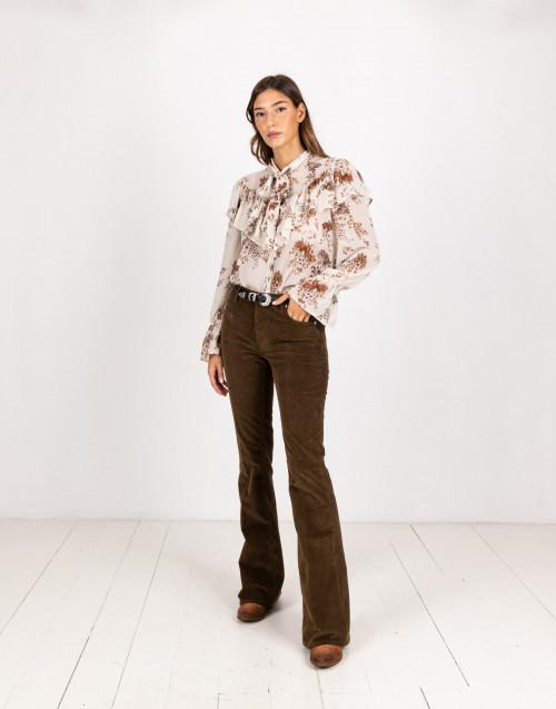 Pantalone a zampa a coste color fango