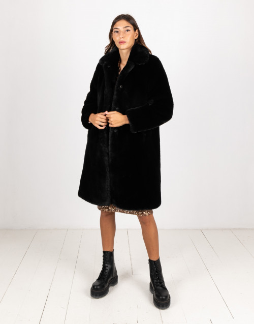 Black eco-leather coat