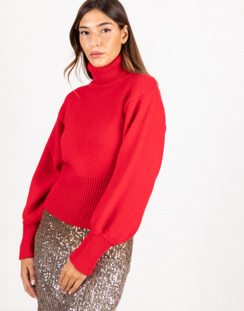 Red turtleneck wool sweater