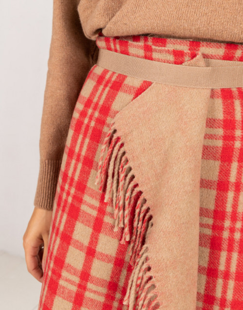 Red and camel coloured wool skirt