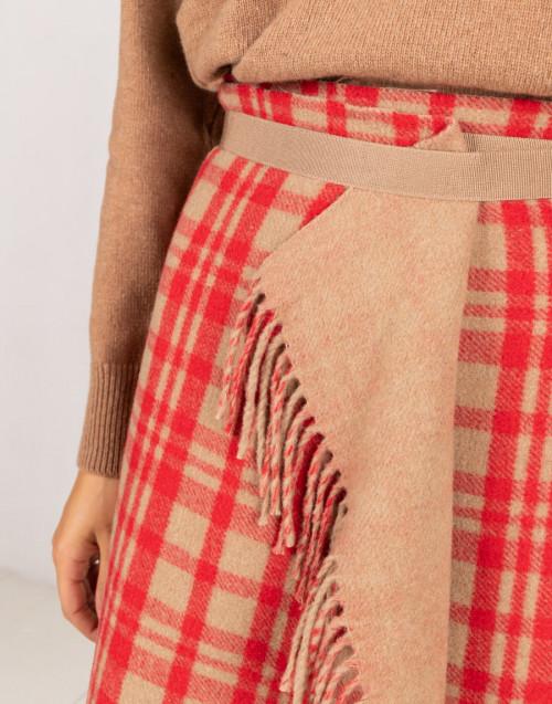 Gonna in lana color cammello e rosso