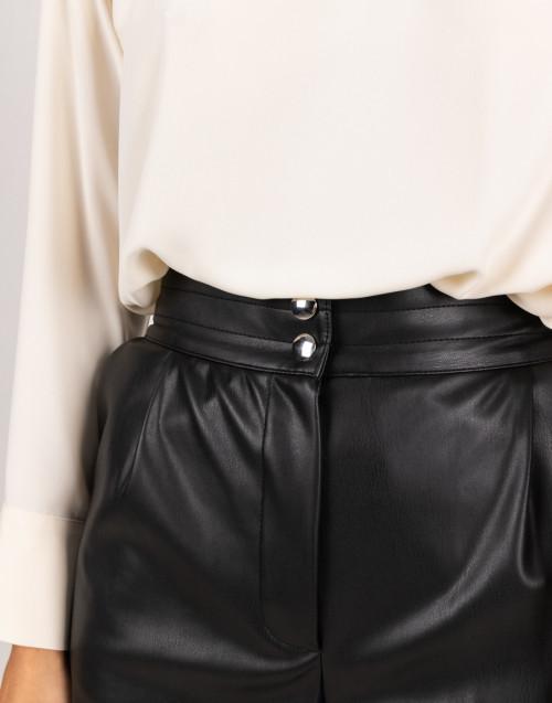 Black eco-leather shorts