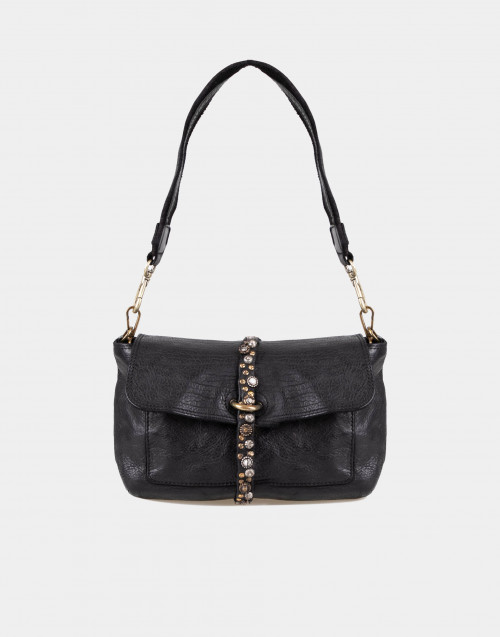 Black leather bag with studs