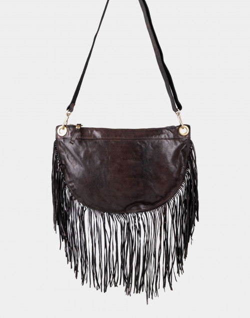 Dark brown leather bag with fringes
