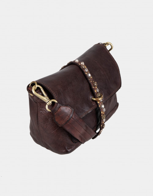 Brown leather shoulder bag with studs