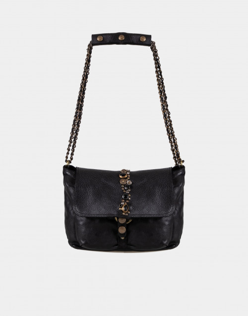 Black leather bag with chain