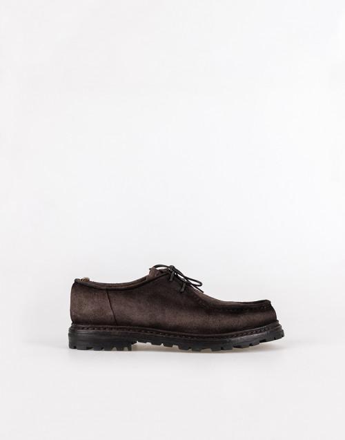 Scarpa stringata scamosciata marrone