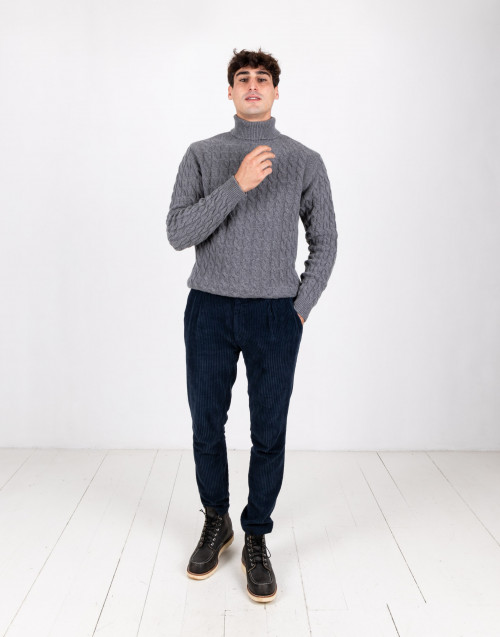 Gray turtleneck wool sweater