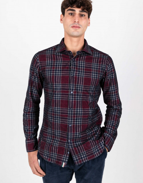 Burgundy and blue tartan cotton shirt