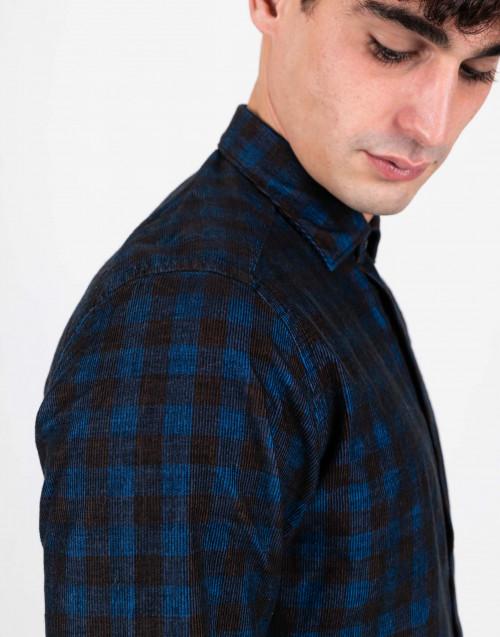 Camicia tartan in cotone blu e nero