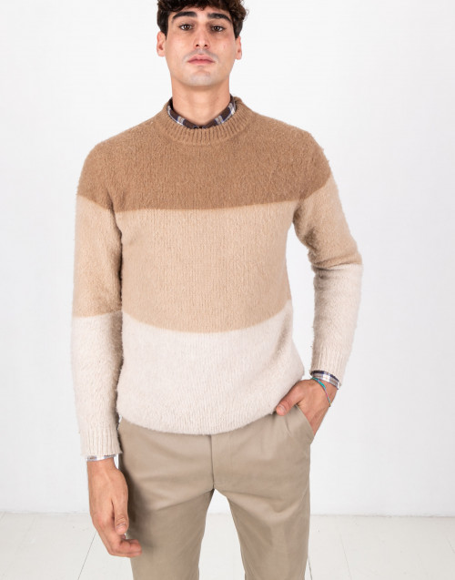 Camel color colorblock wool sweater