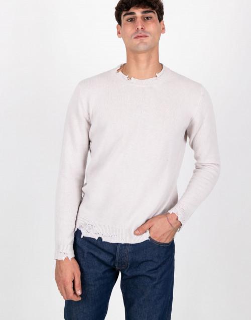 Maglia ripped in lana color avorio