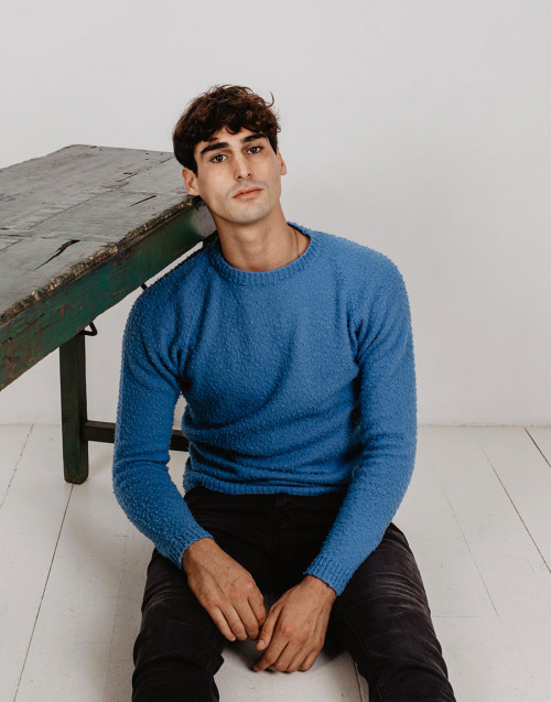 Maglia in lana casentino azzurra