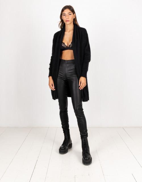 Pantalone nero in pelle