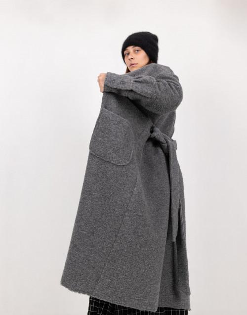 Cappotto vestaglia grigio in lana