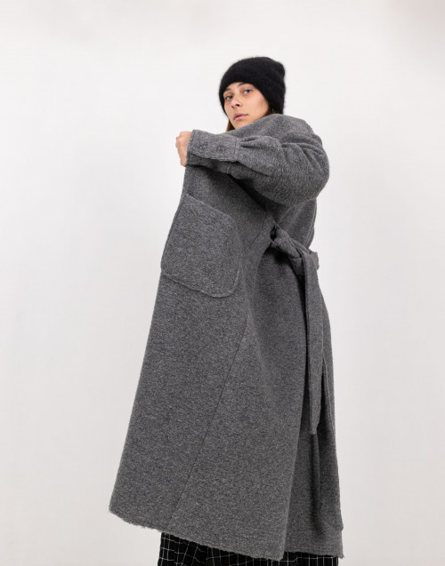 Gray belted wool coat