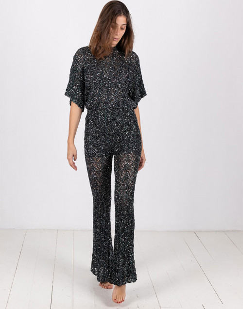 Black and blue sequin trousers