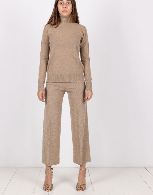 Gold-tone lurex wide-leg trousers