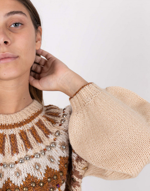 Beige and ocher coloured wool sweater