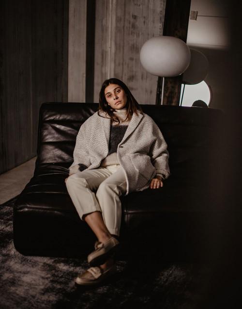 Cappotto Sigmund in lana e lurex bianco