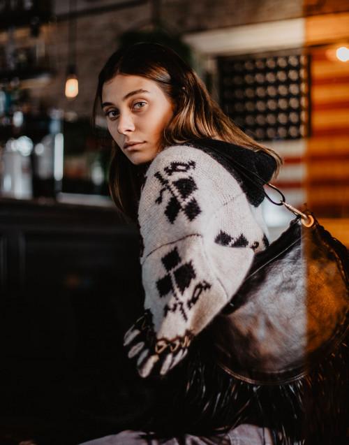Maxi cardigan in lana nero/panna