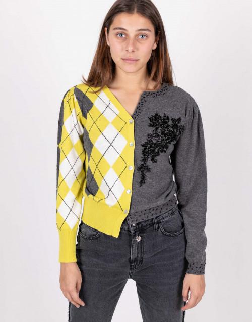 Cardigan vintage patchwork grigio e giallo