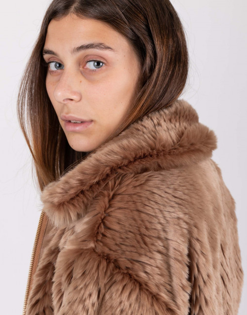 Camel color eco-fur bomber jacket