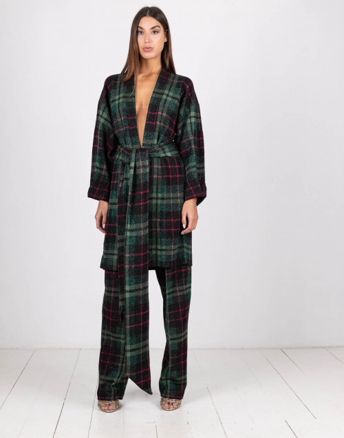 Green and red tartan lurex trousers