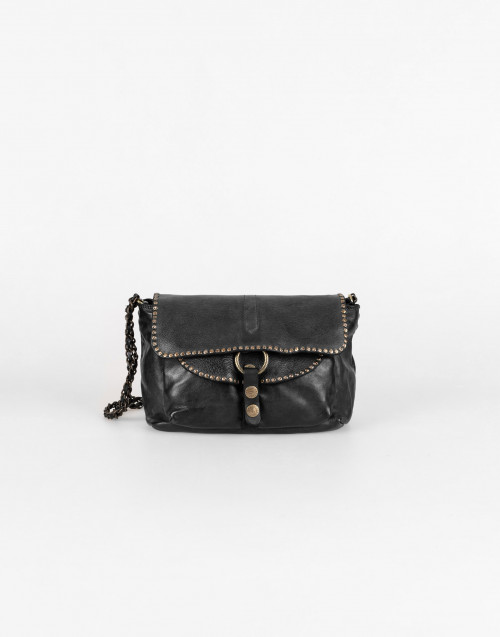 Amelie bag in black leather with chain shoulder strap