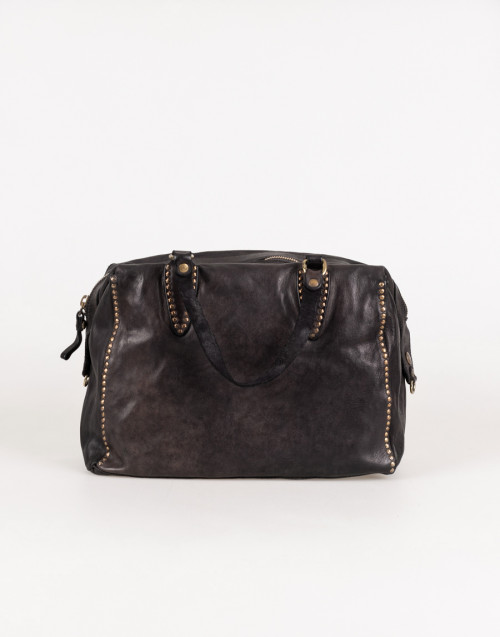 Flavia large satchel in dark brown leather