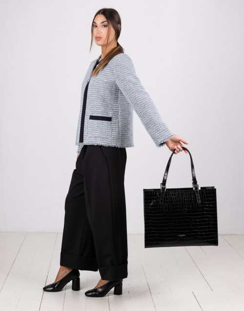 Black Exotic Croco Irisè large shopping bag