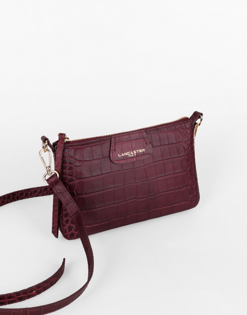 Burgundy Exotic Croco Souple Clutch