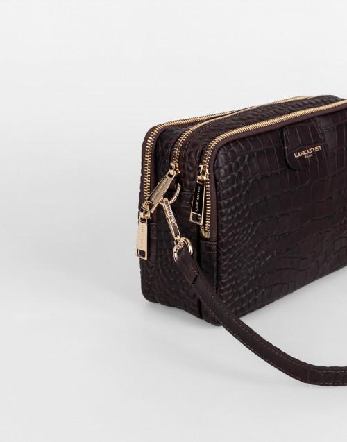 Brown Exotic Croco Souple Crossbody Bag