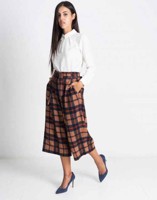 Tartan cropped culottes trousers