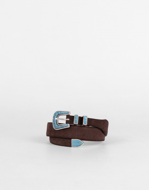 Brown soft suede belt
