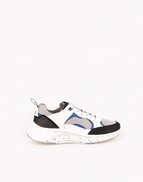 White ajax sneakers with black and blue leather.