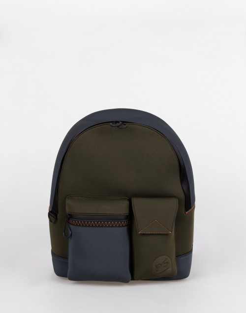 Military green and gray neoprene backpack