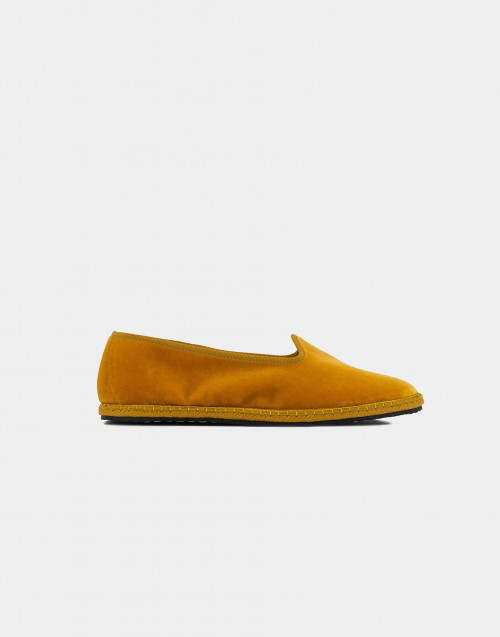 Ocher handmade velvet slippers