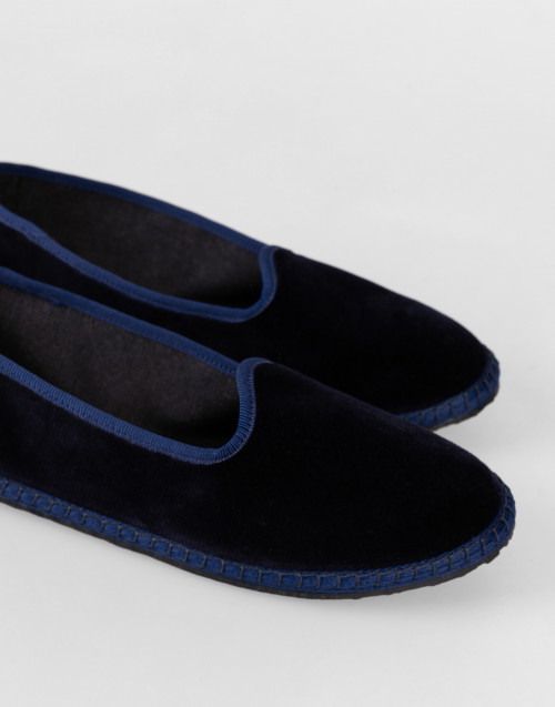 Blue handmade velvet slippers