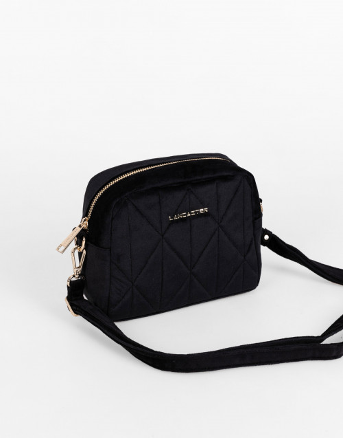 Black actual velvet matelassè small crossbody bag