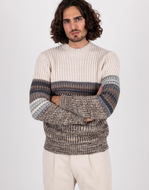 Beige ribbed crewneck sweater