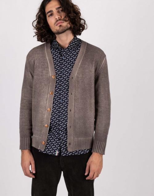 Cardigan in lana tortora