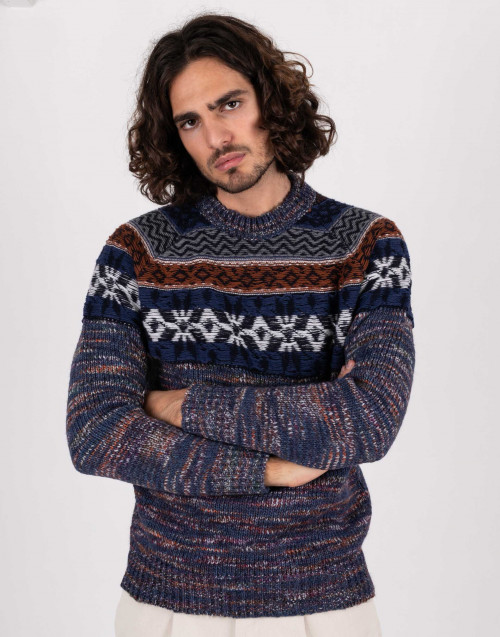 Blue jacquard sweater with melange effect