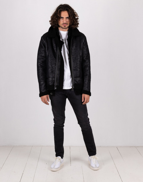 Jacket in black lambskin