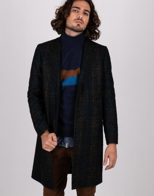 Cappotto tartan in lana