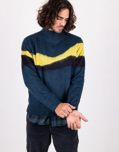 Turtleneck sweater in teal color mohair wool