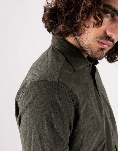 Military green corduroy shirt
