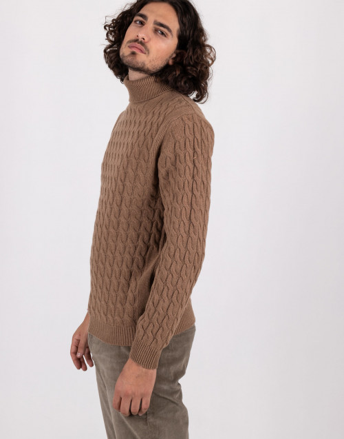 Camel-colored braid turtleneck sweater