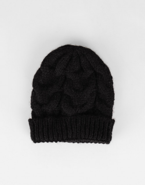 Braided black alpaca beanie